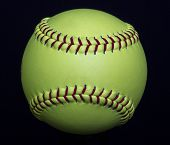 picture of fastpitch  - A yellow fastpitch softball used in games - JPG