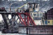 pic of shipyard  - Vintage postcard of ships moored at a shipyard - JPG