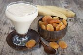pic of apricot  - Smoothies of dried apricots and bananas in a glass - JPG