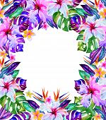 stock photo of hawaiian flower  - beautiful romantic floral frame with place for text - JPG