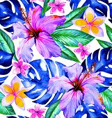 stock photo of hibiscus  - Tropical fashion seamless print design with exotic flowers and leaves - JPG