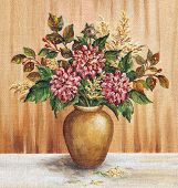 ������, ������: Painting Flowers Dahlias in a Vase