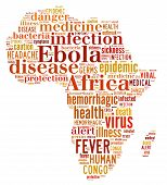 image of hemorrhage  - Words cloud illustration about the spread of Ebola in Africa - JPG