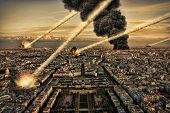 stock photo of meteorite  - Meteorite shower destroying the city and buildings - JPG