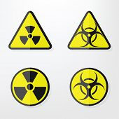 image of hazardous  - Set of  flat paper Triangular and Round Warning Hazard Signs - JPG