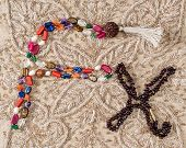 foto of beads  - Bead of pearls and stones and garnet bead  - JPG