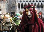 pic of venice carnival  - Characters in colorful costumes at the carnival in Venice - JPG