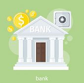 picture of coin bank  - Bank office symbol with ATM dollars and safe icon - JPG