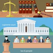 Постер, плакат: Fair trial Supreme court Law and people
