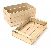 foto of wooden crate  - two wooden crates on white background  - JPG