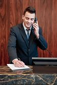 stock photo of receptionist  - Booking confirmed - JPG