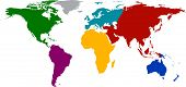 pic of continent  - World map with colored continents - JPG