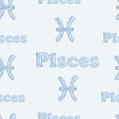 picture of pisces  - Seamless texture with Pisces zodiac sign the sketch on the blue - JPG