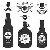 pic of bottles  - set of vintage craft beer bottles brewery - JPG
