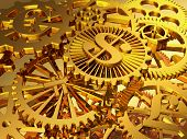 foto of yen  - The mechanism of the gold gear with symbols of dollar euro pound yen - JPG