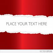 pic of cut torn paper  - Red paper torn in the middle with a white background - JPG
