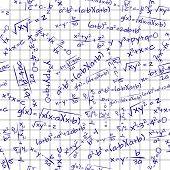 foto of formulas  - illustration of math formula on paper sheet seamless pattern - JPG