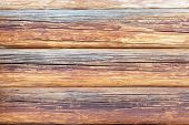 stock photo of log fence  - Logs the texture of the wooden house - JPG
