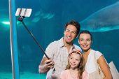 stock photo of sticks  - Happy family using selfie stick at the aquarium - JPG