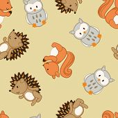 image of ant-eater  - Cute forest animals in a seamless pattern  - JPG