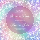 stock photo of lace  - Vintage wedding invitation with lace border - JPG