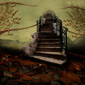 image of stairway  - Stairway towards the sky with orange chains - JPG