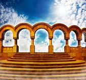 stock photo of stairway  - Stairway to heaven and cloister columns in bright sky - JPG