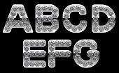 Silver A, B, C, D, E, F, G Letters Incrusted With Diamonds