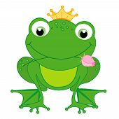 stock photo of cute frog  - Illustration of a cute little happy frog prince with a crown and a rose in its mouth isolated on white background - JPG