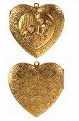 picture of cherub  - Gold Locket Heart Charm with Cherubs isolated on white - JPG