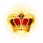 picture of crown jewels  - Golden crown with gems and pearls clipart on glowing background - JPG
