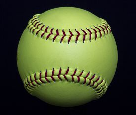 picture of softball  - A yellow fastpitch softball used in games - JPG