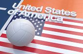 image of volleyball  - Flag of USA with championship volleyball ball on volleyball court - JPG