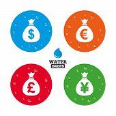 foto of yen  - Water drops on button - JPG