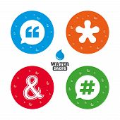 foto of ampersand  - Water drops on button - JPG