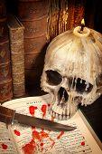 Halloween Book And Skull