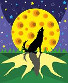 picture of wolf moon  - The wolf howls on the big full moon - JPG