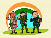 image of indian independence day  - Illustration of saluting Indian force officers in uniform on national tricolor background for Independence Day celebration - JPG