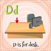 pic of letter d  - Flashcard letter D is for desk - JPG