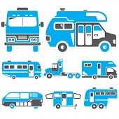 pic of truck-cabin  - set of 8 camping truck icons in blue theme - JPG