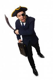 image of pirate sword  - One eyed pirate with briefcase and sword isolated on white - JPG