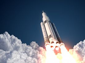 picture of spaceman  - Space Launch System Takes Off - JPG
