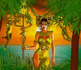foto of serpent  - A fantasy depiction of a mystical goddess with the power over snakes is set against a blue ocean and a sunset - JPG