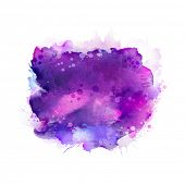 Purple, violet, lilac and blue watercolor stains. Bright color element for abstract artistic backgro poster