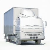 3d Postal Truck, Express, Fast Delivery, 3d White Delivery Truck Icon, Transporting Service, Freight poster