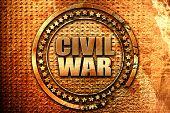 civil war, 3D rendering, grunge metal stamp poster