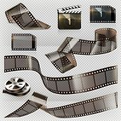 Old film strip with transparency. 3d vector icon set poster