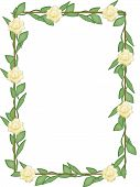 Frame With Green Leaves And Yellow Flowers