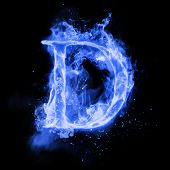 Fire letter D of burning blue flame. Flaming burn font or bonfire alphabet text with sizzling smoke  poster
