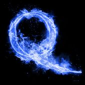 Fire letter Q of burning blue flame. Flaming burn font or bonfire alphabet text with sizzling smoke  poster